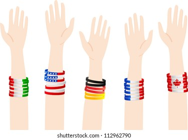 People of different nations raising their hands to become volunteers