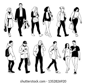 People in different poses. Monochrome vector illustration of set of men and women standing and walking in simple line art style. Front view, side view. Hand drawn sketch isolated on white background.
