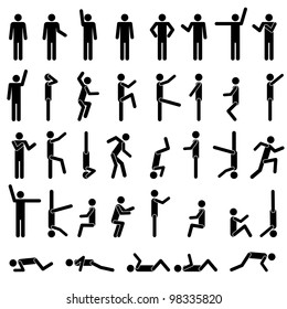 People in different poses vector. Icon Sign Symbol Pictogram