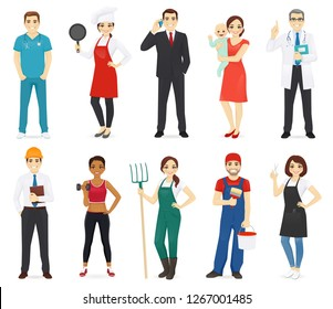 People different profession collection set isolated vector illustration