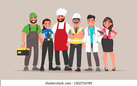 People of different professions. Builder, female police officer, cook, engineer, doctor and teacher. Template for Labor Day. Vector illustration in cartoon style