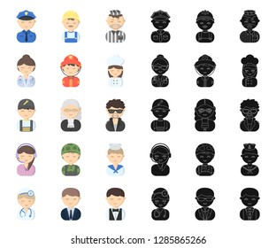 People of different professions cartoon,black icons in set collection for design. Worker and specialist vector symbol stock web illustration.