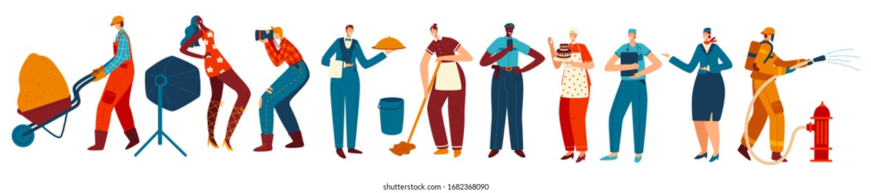 People of different professions, isolated cartoon characters, vector illustration. Men and women in work uniform, various occupations. Professional builder, doctor, waiter, cleaner and police officer