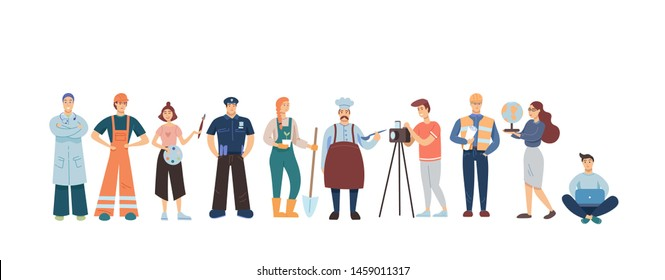 People of different professions isolated on white background. Flat modern style.