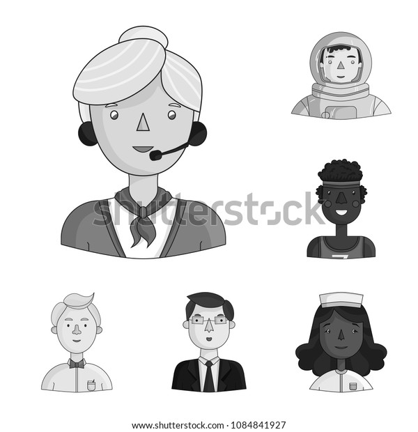 People of different professions monochrome icons in set collection for design. Worker and specialist vector symbol stock web illustration.