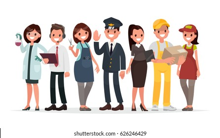 People of different professions on a white background. The laboratory assistant, the operator, the hairdresser, the driver, the teacher, the courier and the seller in the store. Vector illustration