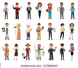 People of different professions. Set of twenty one poses with cartoon characters of various occupations. Creative vector illustration