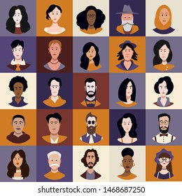 People of different races and ages Avatar Set Vector. Man, Woman. People User Person. Trendy Image. Cheerful Worker Avatar. Round Portrait. Flat Cartoon Character Illustration
