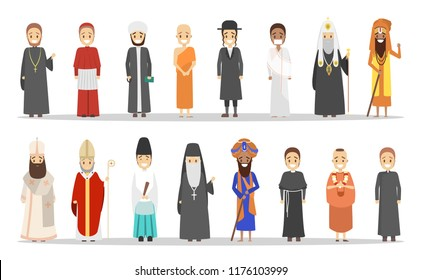 People of different religion set. Christian and muslim, islam and hindu. Collection of religious men. Isolated flat vector illustration