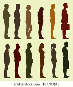 People of Different sizes, races and genders waiting in Line or in Queue
