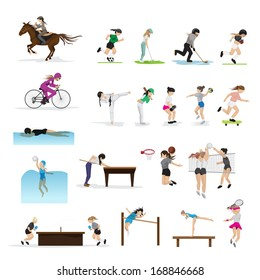 People In Different Sports And Icons Set - Isolated On White Background - Vector Illustration, Graphic Design Editable For Your Design. Group Of Person Who Are Actively Involved In Sports