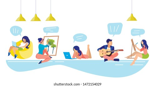 People with Different Types Hobbies in Coworking Center. Coworking Center. Hobby Young People. Vector Illustration. Workflow in Office. Work and Leisure. People Inside Room. Thoughts Working People.