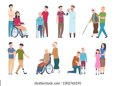 People with disabilities and friends. Disable persons in wheelchair with assistants. Happy disabled, handicapped vector characters