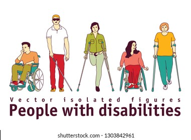 People with disabilities isolate objects on white