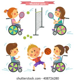 People with disability playing tennis and basketball. Vector set in flat style. Girl, boy, wheelchair, tennis racquet, balls.