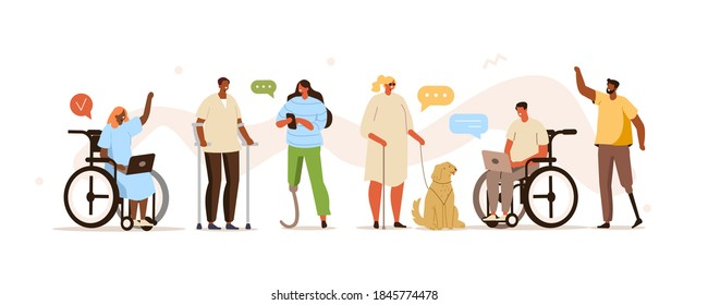 People with disability working together. Characters and persons in wheelchairs using smartphones, laptops and communicating. Flat cartoon vector illustration.