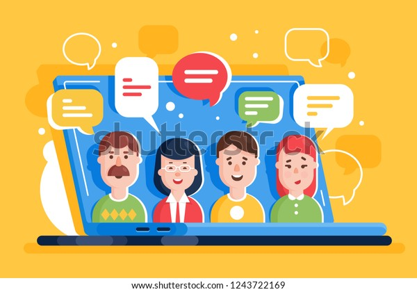 People discuss and comment in online social networks, internet on laptop. Concept web communication, man and woman, male and female. Vector illustration.