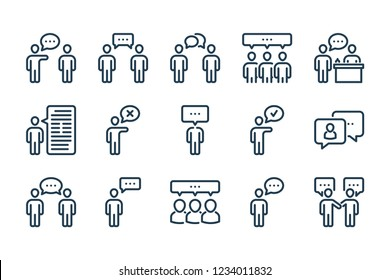 People discussion related line icon set. Talk, dialog and speech linear vector icons.