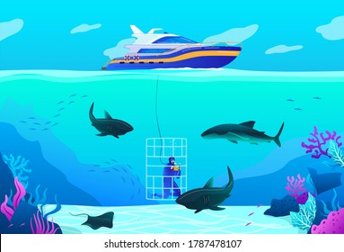 People diving vector illustration. Cartoon flat professional scuba diver character exploring ocean sea tropical wildlife, underwater nature, swimming with shark, extreme under water sport background