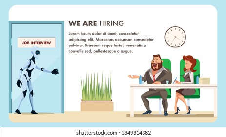 People do Job Interview for Male Robot Employee. Bot Candidate Artificial Intelligence Walk into Door. Businessman in Suit and Woman HR or Boss Sit at Desk. Flat Cartoon Vector Illustration