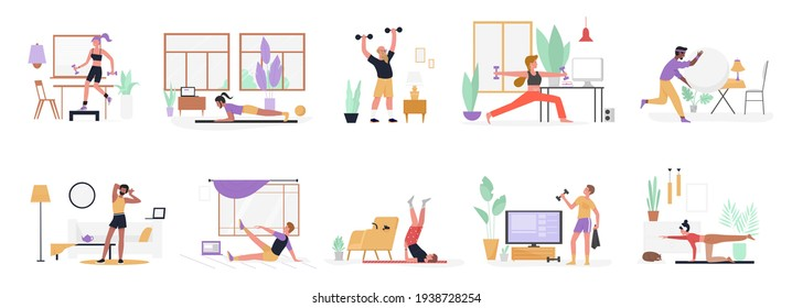 People do sport exercises at home vector illustration set. Cartoon young man woman sportive characters in sportswear training with dumbbells and ball, healthy fitness sports workout isolated on white - Shutterstock ID 1938728254