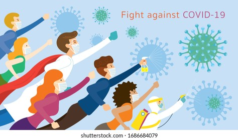 People and Doctor be Superheroes to Fight Against Covid-19, Coronavirus Disease, Health Care and Safety