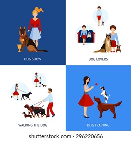 People with dogs design concept set with walking and training flat icons isolated vector illustration