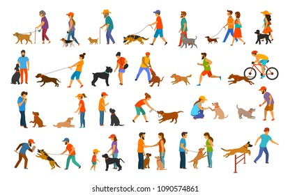 people with dogs graphic. man woman training pets basic obedience commands like sit lay down give paw walk close, exercising run jump barrier, agility, protection, running play walk, teach set