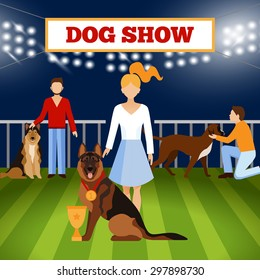 People with dogs on pet show competition poster vector illustration