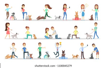 People with dogs set. Happy and smiling people.