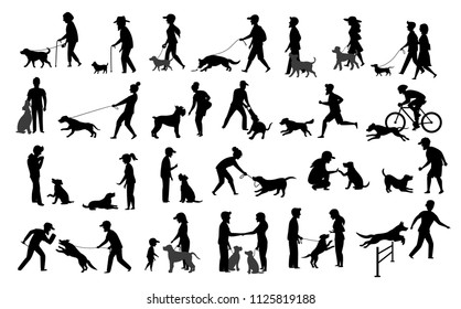 people with dogs silhouettes graphic set.man woman training their pets basic obedience commands like sit lay give paw walk close, exercise run jump barrier, protection, running playing, walking
