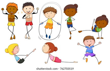 People doing different exercises on white background illustration
