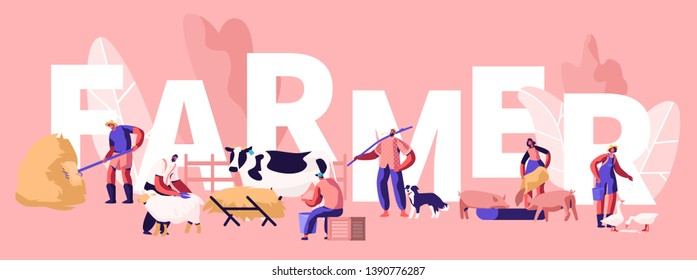 People Doing Farming Job Concept. Farmer Characters Feeding Domestic Animals, Milking Cow, Shearing Sheep, Prepare Hay for Livestock. Poster, Banner, Flyer, Brochure. Cartoon Flat Vector Illustration