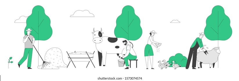 People Doing Farming Job Feeding Domestic Animals, Milking Cow, Shearing Sheep, Prepare Hay for Livestock. Male Female Farmer Characters Working with Cattle. Cartoon Flat Vector Illustration, Line Art