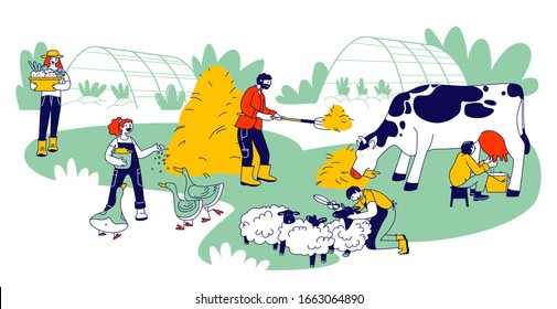 People Doing Farming Job Feeding Poultry and Domestic Animals, Milking Cow, Shearing Sheep, Prepare Hay for Livestock. Farmer Characters Working with Cattle. Cartoon Flat Vector Illustration, Line Art