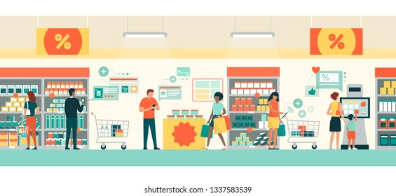 People doing grocery shopping at the supermarket, they are buying products using AR apps on their smartphones and tablets, retail and augmented reality concept