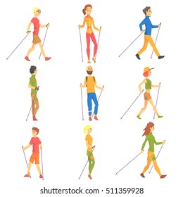 People Doing Nordic Walk Outdoors Set Of Illustrations
