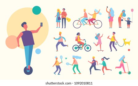 People doing sport active lifestyle, playing tennis, cycling together, walking dog, taking pictures and selfie skating collection vector illustration