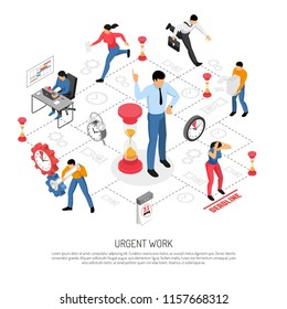 People doing urgent work before approaching deadline isometric flowchart on white background 3d vector illustration