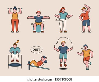 People doing various exercises in the gym. flat design style minimal vector illustration.