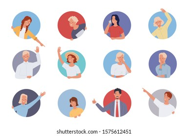 People doing various gestures in a circular frame. Men and women looking out of circle window. Vector illustration in a flat style