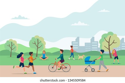 People doing various outdoor activities in the park. Running, cycling, walking the dog, exercising, meditating, walking with baby carriage. Vector concept illustration of healthy lifestyle.
