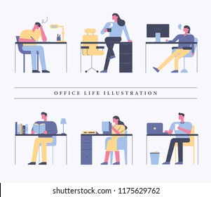 People doing various things at the desk. Straight style character flat design vector graphic illustration set