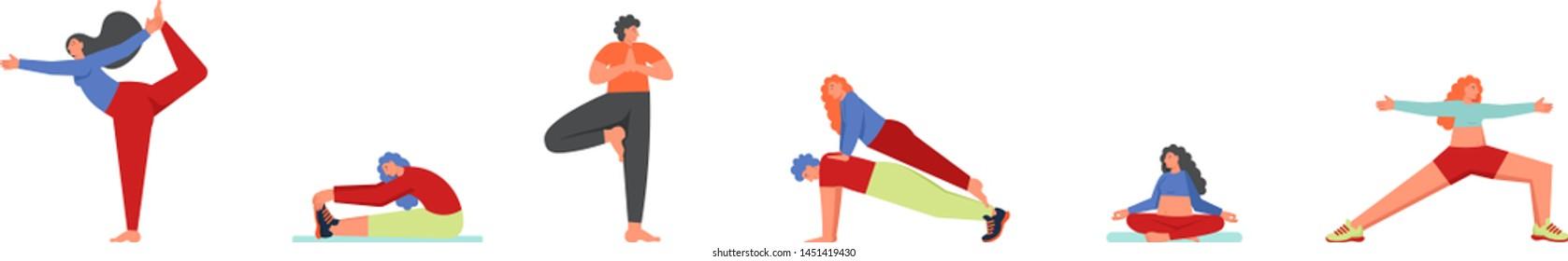 People doing yoga asanas, vector flat style design illustration isolated on white background. Tree, Plank, Sukhasana, Warrior 2, Lord of the dance yoga poses.