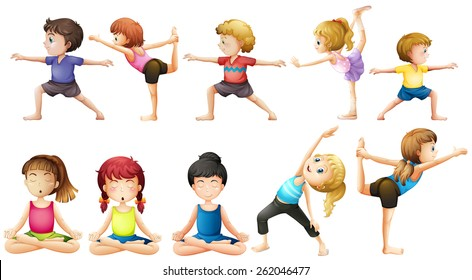 People doing yoga in different positions