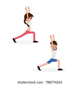 People doing Yoga exercise.