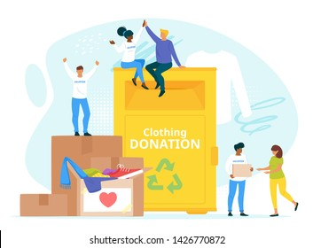 People donating clothes to charity together flat vector illustration. Used garment reuse and recycle. Young volunteers organized collective work. Clothing donation bin. Society unity isolated clipart