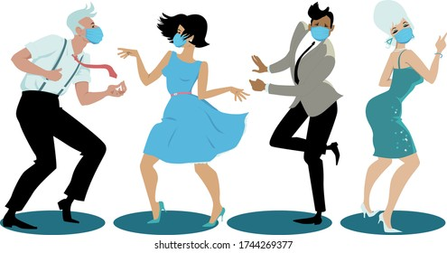 People dressed in vintage  fashion and protective face masks dancing the Twist, EPS 8 vector illustration