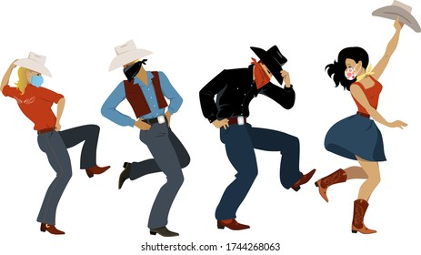 People dressed in western fashion and protective face masks and bandannas dancing western dance, EPS 8 vector illustration