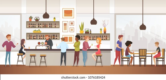 People Drink Coffe into Interior Vector Cafe Bar. Illustration of Lifestyle Characters Spend Time at Restraurant